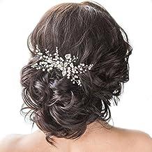 Venusvi Wedding Crystal Hair Comb Bridal Hair Accessories for Brides and Bridesmaids (Silver)