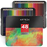 Arteza Professional Colored Pencils Set of 48 Colors, Soft Wax-Based Cores, Ideal for Drawing Art, Sketching, Shading & Coloring, Vibrant Artist Pencils in Tin Box