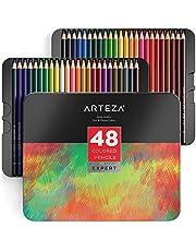 ARTEZA Estuche de lápices de colores para dibujo profesional   Caja de 48 unidades   Lápices de dibujo artístico   48 colores numerados