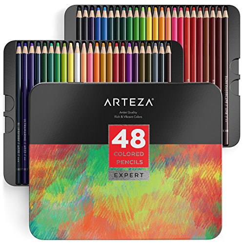 (ARTEZA Colored Pencils, Professional Set of 48 Colors, Soft Wax-Based Cores, Ideal for Drawing Art, Sketching, Shading & Coloring, Vibrant Artist Pencils for Beginners & Pro Artists in Tin Box)