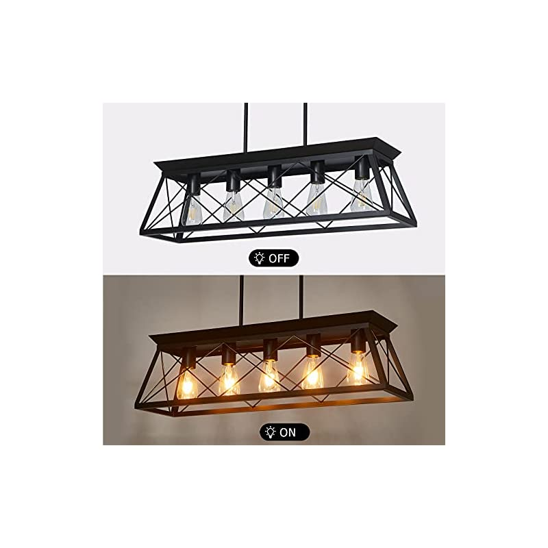 Fabulis Farmhouse Linear Chandelier, 5-Light Retro Metal Kitchen Island Lighting Fixtures in Black Finish for Dining…