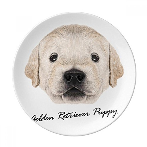 Trained Golden Retriever Puppy Dog Animal Dessert Plate Decorative Porcelain 8 inch Dinner Home