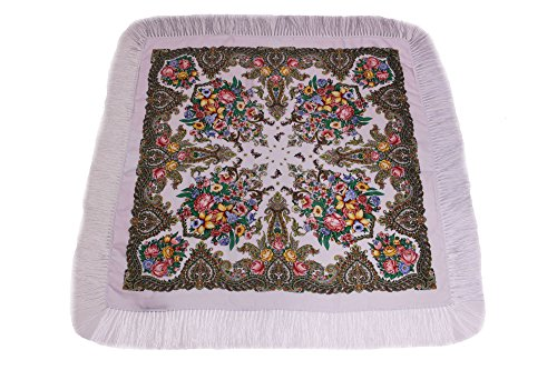 Dzhavael Couture Womans Russian Style Wool Luxury Unique Large Babushka Pashmina Shawl Wraps Scarves with Fringe (White) (Wool Scarf White)