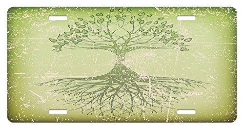 Grunge Style Tree with Roots in Soil Reflection Mystic Life Wisdom Growth Aged Look Green High Gloss Aluminum Novelty Plate 5.88 X 11.88 Lunarable Tree of Life License Plate