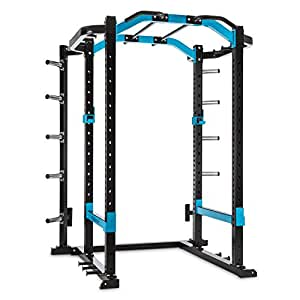 CAPITAL SPORTS Amazor P Power Rack • Power Cage • Jaula de dominadas • 2 x Safety Spotter • 2 x Ganchos J • Monkey Bar • 2 x Soportes mancuerna • 10 x Discos de carga • Marco acero inoxidable • Negro