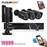 FLOUREON House Security Camera System 8CH 1080N AHD DVR Kit 5 IN 1 TVI + 4 X 2000TVL 720P HD Bullet Indoor/Outdoor Surveillance CCTV Camera with 1TB Hard Drive (8CH+2000TVL Bullet + 1 TB HDD)