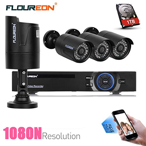 FLOUREON House Security Camera System 8CH 1080N AHD DVR Kit 5 IN 1 TVI + 4 X 2000TVL 720P HD Bullet Indoor/Outdoor Surveillance CCTV Camera with 1TB Hard Drive (8CH+2000TVL Bullet + 1 TB HDD) by Floureon