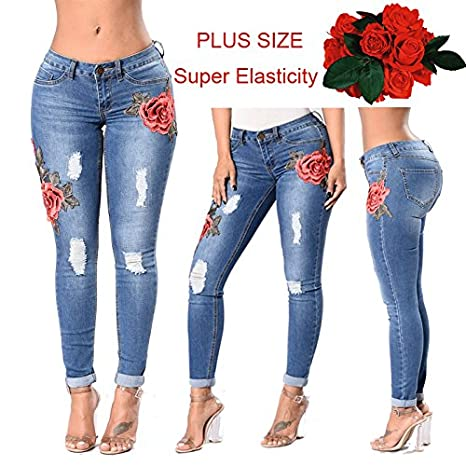 b0f1ceb8d0 Womens Skinny Jeans Butt Lift Hip Denim Pants Flowers Embroidered Printed  Low Rise Jean at Amazon Women s Jeans store