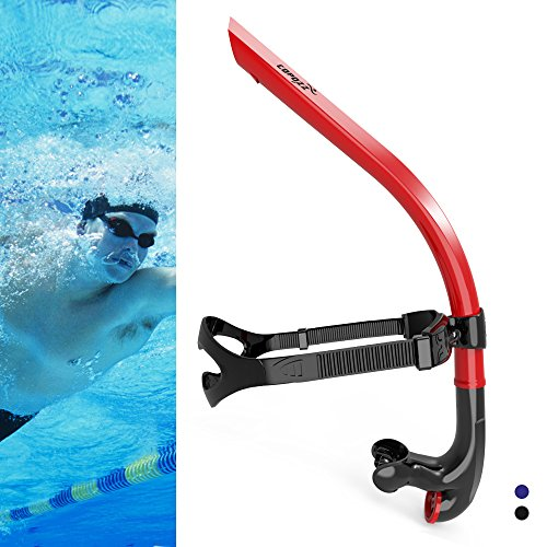 COPOZZ Swim Snorkel for Lap Swimming Swimmers Training Snorkeling Diving, Center Mount Comfortable Silicone Mouthpiece One-Way Purge Valve, Easy to Breath for Pool and Open Water (4300 R)