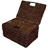 Rectangular Basket w Lid in Rich Walnut Finish - Set of 2