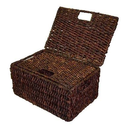 Popular Amazon.com: Rectangular Basket w Lid in Rich Walnut Finish - Set  BC61
