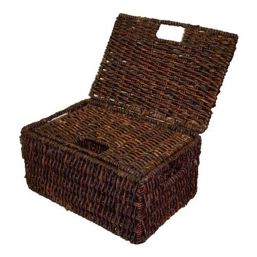 Rectangular Basket w Lid in Rich Walnut Finish - Set of ()