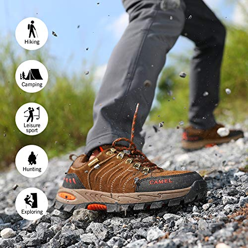 Camel-Crown-MensWomens-Breathable-Leather-Hiking-Shoes-for-Outdoor-Camping-Trekking-Exploring