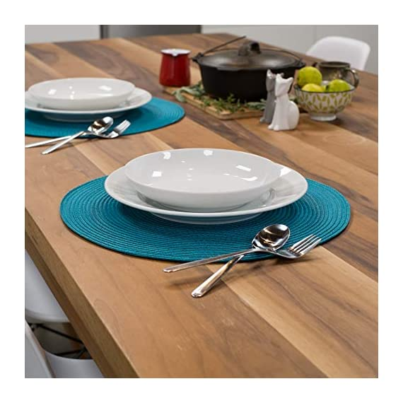Now Designs Disko Round Placemats, Set of Four, Peacock - This placemat set includes four matching woven placemats Each placemat in the set measures 15 inches in diameter Sturdy and durable, these placemats are ideal for year round dining indoors or outdoors - placemats, kitchen-dining-room-table-linens, kitchen-dining-room - 51aJx259qSL. SS570  -