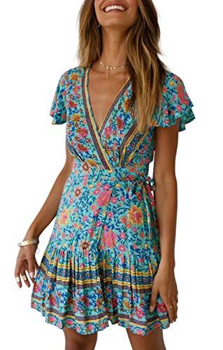 (ZESICA Women's Summer Wrap V Neck Bohemian Floral Print Ruffle Swing A Line Beach Mini Dress Green)