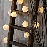 """Strand of 30 Warm White LED 3"""" Mini Lantern Connectable Plug-in String Lights with Timer, UL Listed"""