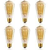 Homesita St64 60w Vintage Antique Edison Style Incandescent Clear Glass Light Lamp Bulb (6 Pack)