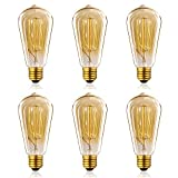 Homestia Amber Color ST64 60W 220V Vintage Antique Edison Style Incandescent Clear Glass Light Lamp Bulb (6 pack)