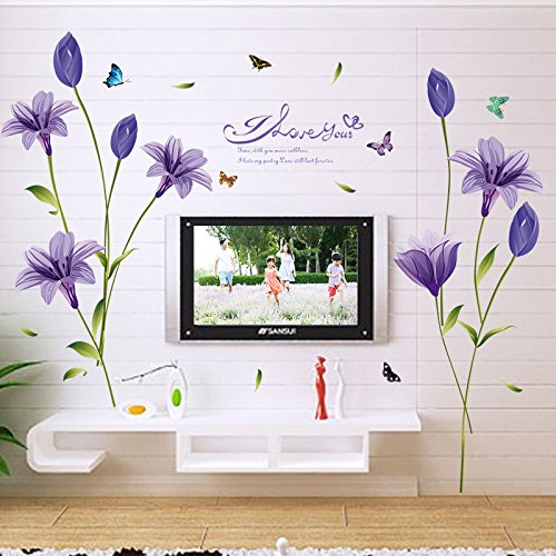 (Amaonm Creative Removable Purple Flowers Wall Decals DIY Peel Stick Decor Flower Vines Wall Stickers Nursery Murals for Girls Bedroom Bathroom Liivng Room Offices Home Wall Decoration (Lily) )