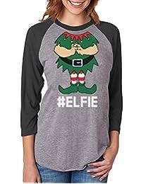 TeeStars - Elf Suit Funny Elfie Christmas 3/4 Women Sleeve Baseball Jersey Shirt