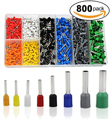 ELSKY 800pcs Assortment Ferrule Wire Copper Crimp Connector, Wire Terminals Kit, Wire Connector Kit, Insulated Cord Pin End Terminal AWG 22-10 (Positive Air Flow)