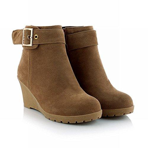 Carolbar Kvinna Spänne Dragkedja Chic Elegans Mode Kilklack Klänning Boots Kamel
