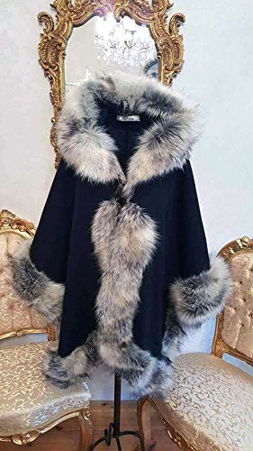 Elegant black half-woolen cloak with high quality silver faux fur by ScarecrowStudio