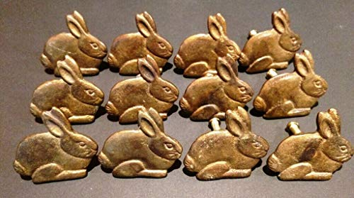 Lovely999 Brass Rabbit Bunny 12x Drawer Nice Patina Cabinet Handle Knob Pull Cupboard Dresser,Perfect Finisher