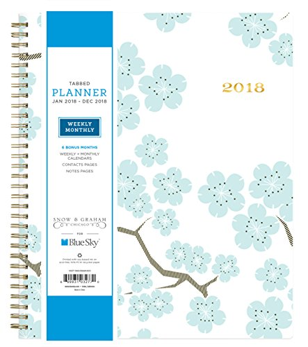 Snow & Graham for Blue Sky 2018 Weekly & Monthly Planner, Hardcover, Twin-Wire Binding, 8