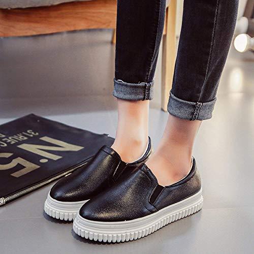 Oudan Color Avec Chaussures Taille Rondes Noir Noir Casual 35 coloré Pure ZIrIERqxw