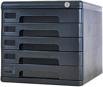 LKJH File Cabinets Data Box Desk 5 Floor Data Cabinet Stationery Storage with Drawer Silver