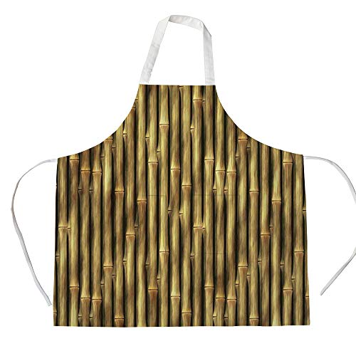 Cotton Linen Apron,Two Side Pocket,Beige,Tropical Bamboo Poles Woody Grass Asian Ethnic Style Tall Thin Harvest Natural Artprint Home Decorative,Golden,for Cooking Baking Gardening ()