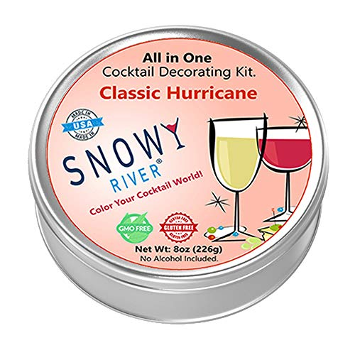Snowy River Hurricane Cocktail Decorating Kit, All Natural Cocktail Salt and Cocktail Glitter Decorating Gift Pack with Recipe Card