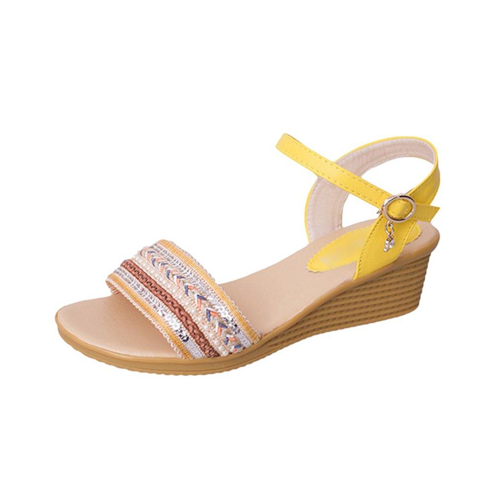 LvRaoo Elegante Zeppa Sandali con Fibbie per Donna Paillettes Scarpe di Perline da Spiaggia  Giallo