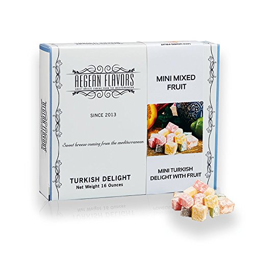 Mini Turkish Delight with Mix Fruits - Sweet Confectionery Gourmet Gift Box Candy Dessert 16 oz
