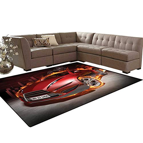 Cars Kids Carpet Play-mat Rug Red Sports Car Burnout Tires in Flames Blazing Engine Hot Fire Smoke Automobile Room Home Bedroom Carpet Floor Mat 6'6