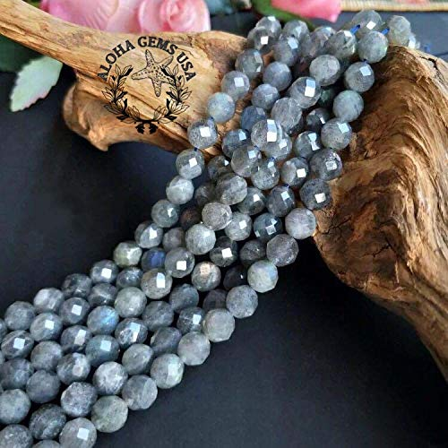 [ABCgems] Brazilian Labradorite (Beautiful Flash) 6mm Faceted Round Beads for Beading & Jewelry Making ()