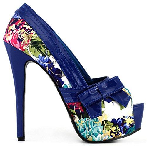 Mostrar historia patrón Floral multicolor arco Peeptoe plataforma bombas fiesta, LF80824 Azul - azul