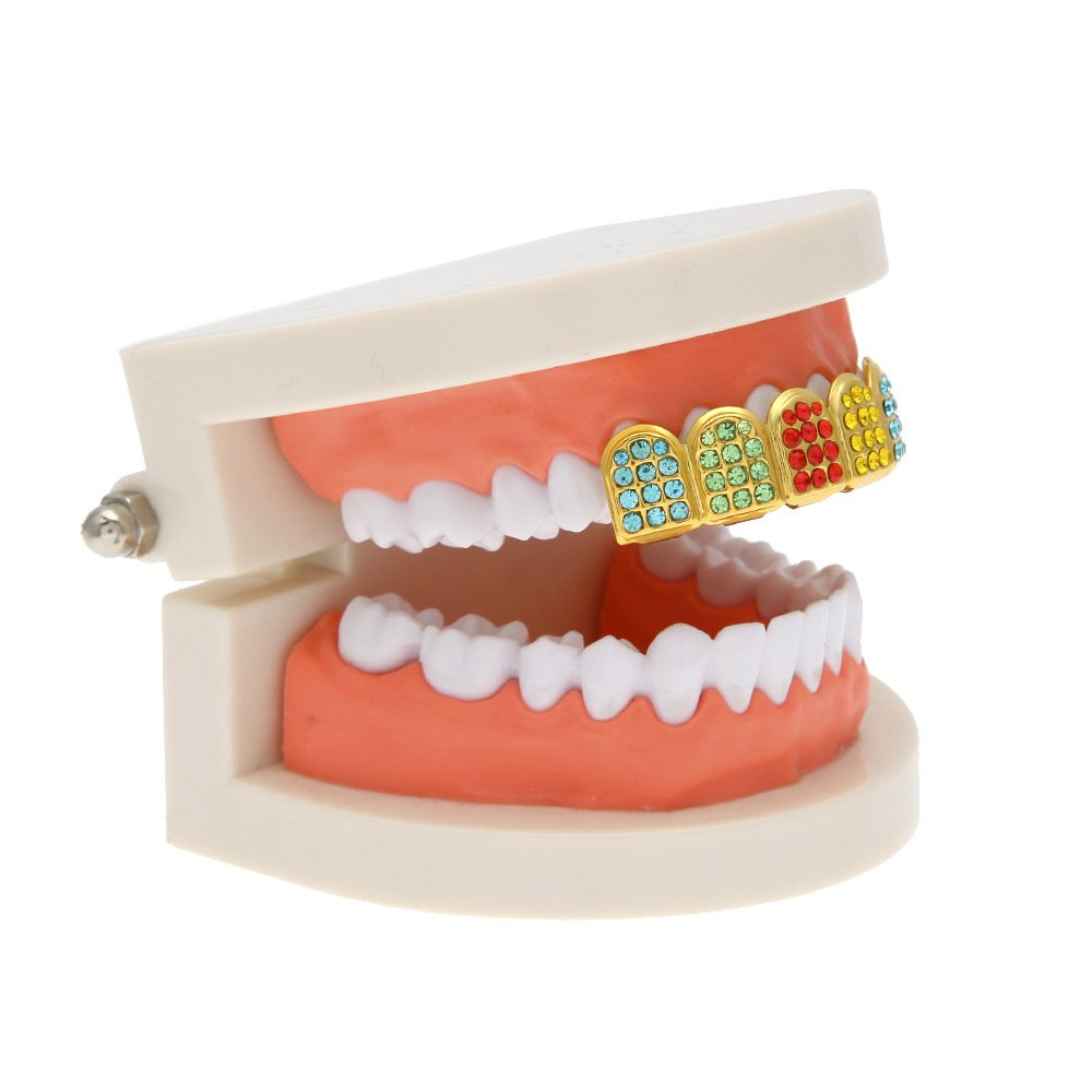 MCSAYS Micro Pave Teeth Grillz Iced-out Teeth Top Upper Hip Hop Colorful Rhinestones 6 Teeth Grillz by MCSAYS (Image #6)