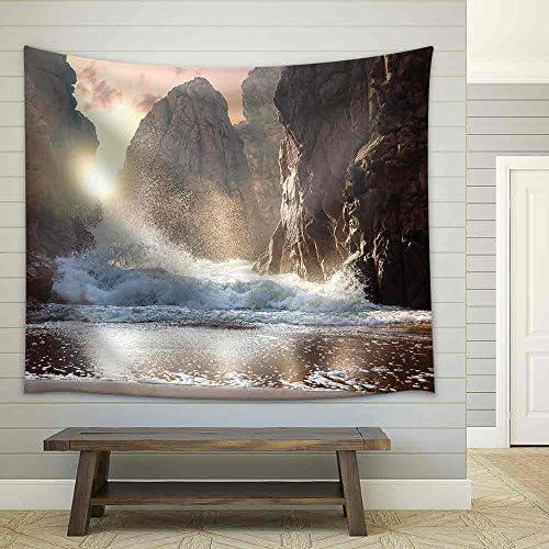 Fantastic Big Rocks and Ocean Waves at Sundown Time Dramatic Scene Beauty World Landscape Fabric Wall