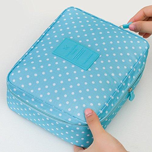 Make Up Travel Organizer Bag - Women's Travel Organization Beauty cosmetic Make up Storage Cute Lady Wash Bags Handbag Pouch Accessories Supplies - Makeup Storage Organizer Case (blue dot)