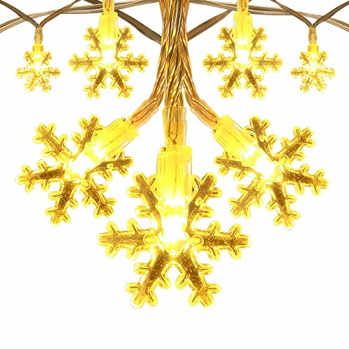 InnooLight Snowflake Lights Battery Operated 40 LEDS Indoor string Lights for Christmas Tree, Bonsai, Backgrounds, Walkways, Mantels, Bedroom and More (Warm - Christmas Background Blinking Lights
