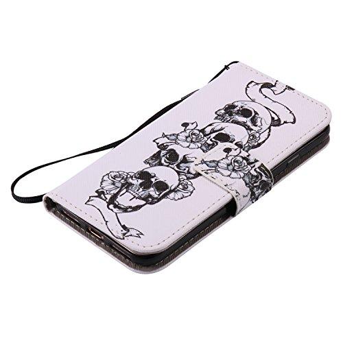 [4.7] Handyhülle iPhone 7,Handyhülle iPhone 8,BtDuck Ultra Slim Weich Silikon Cover Innere mit Standfunktion Bookstyle Tasche Magnet Leder Schutztasche Schutzhülle für iPhone 7/iPhone 8 Handytasche M iPhone 7/8-Schädel Blume