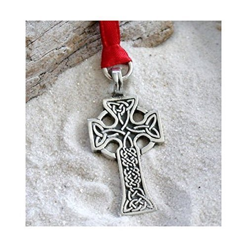 Pewter Celtic Cross with Irish Triquetra Knots Christmas Ornament and Holiday Decoration (Christmas Cross Ornament Celtic)