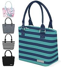 Simple Modern 4L Cara Lena Lunch Bag for Women - Insulated Lunch Box Stripes: Bermuda Deep