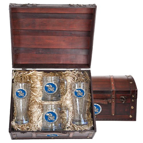 Kansas Jayhawks Beer Glass and Stein Gift Set by Heritage Pewter