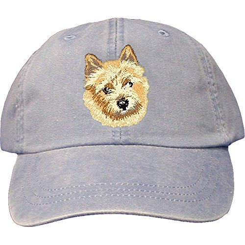 Terrier Embroidered Cap (Cherrybrook Dog Breed Embroidered Adams Cotton Twill Caps - Periwinkle - Norwich Terrier)