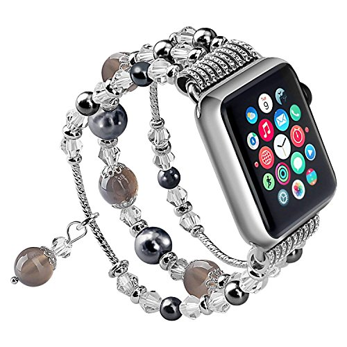 for Apple Watch Band, iWatch Band, Yuanli Apple Watch Strap with Fashion Handmade Elastic Stretch Faux Pearl Natural Stone Bracelet Strap for Apple Watch Series 1 Series 2 Series 3 ()