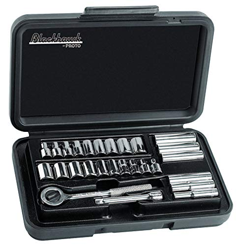Blackhawk 27 Piece Deep Metric & Standard Socket Sets, 1/4 in, 6 Point, 12 Point