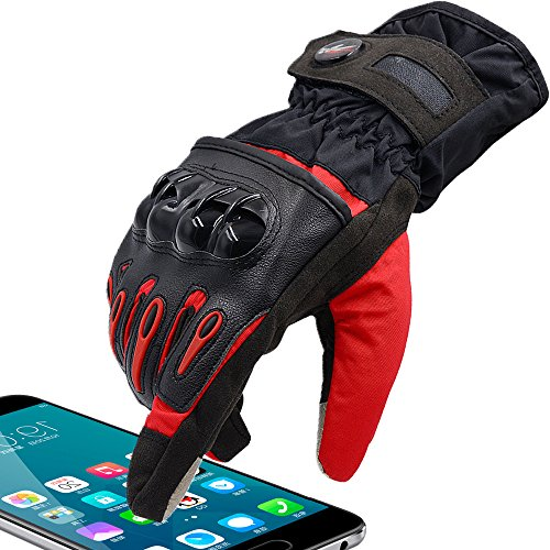 Powersport Waterproof Full Finger Women Gloves Protective Passenger Gloves Winter Warm Touch Screen Gloves for Cycling Racing Skiing Mountain Street Bike(Red, S)